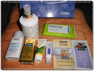 Erster Teil der Produkte der medpex Wohlfühlbox - Dezember 2013