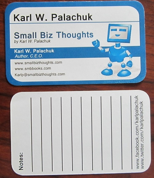 Small Biz Thoughts By Karl W Palachuk Sop Friday Business Cards