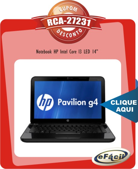 Cupom Efácil - Notebook HP G4 2120 Intel Core I3