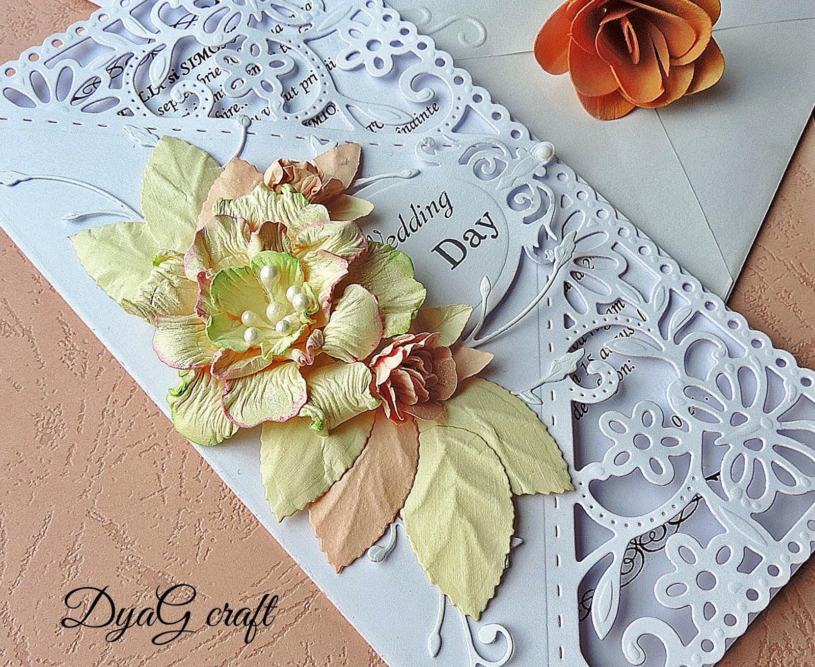 invitatie handmade nunta dantela trandafir