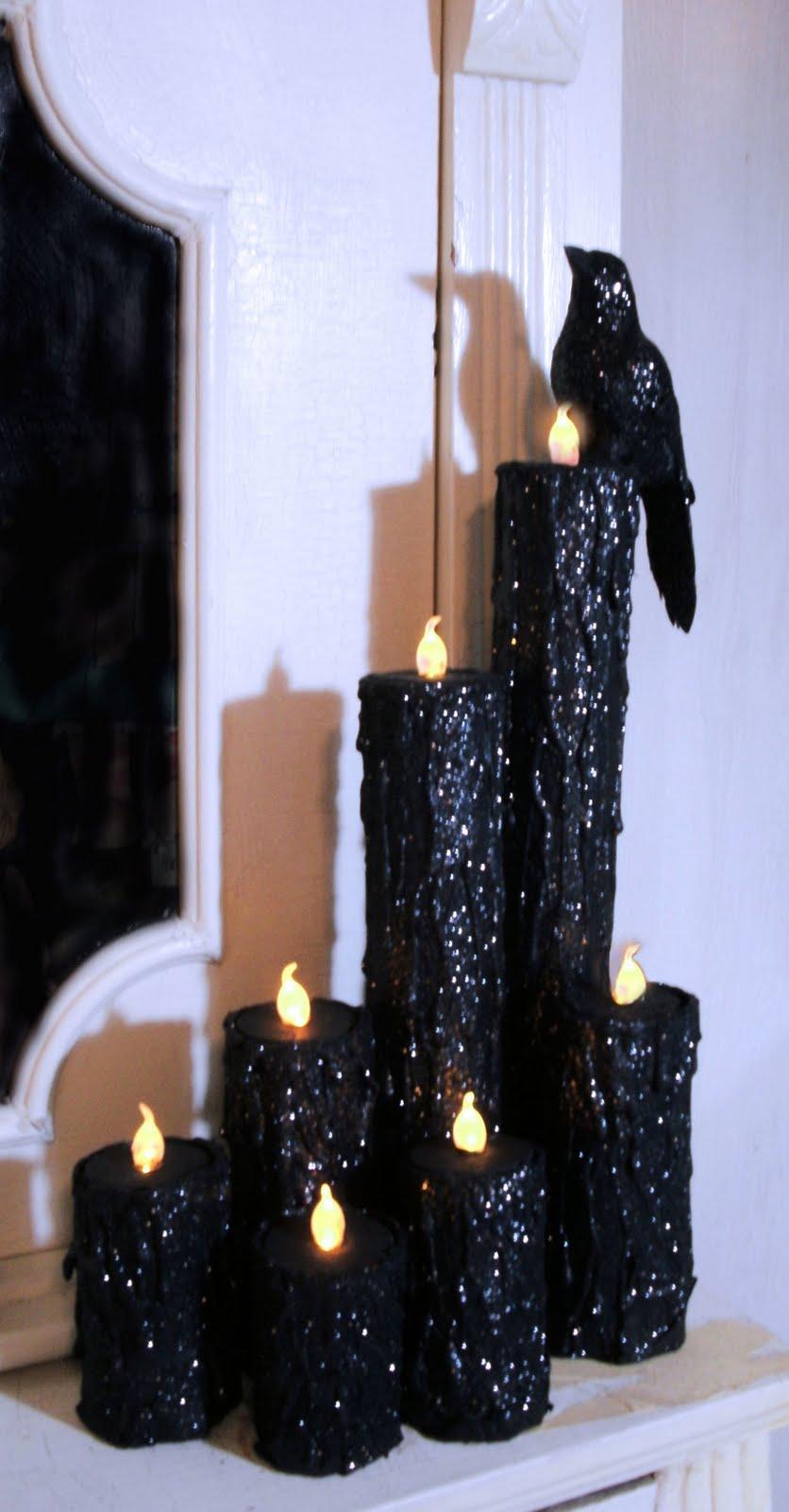 house of dewberry diy halloween creepy candles. Black Bedroom Furniture Sets. Home Design Ideas