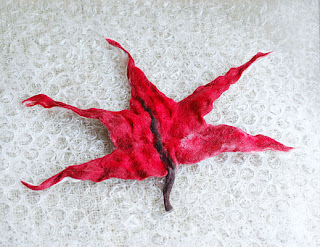 Hand felted red maple leaf