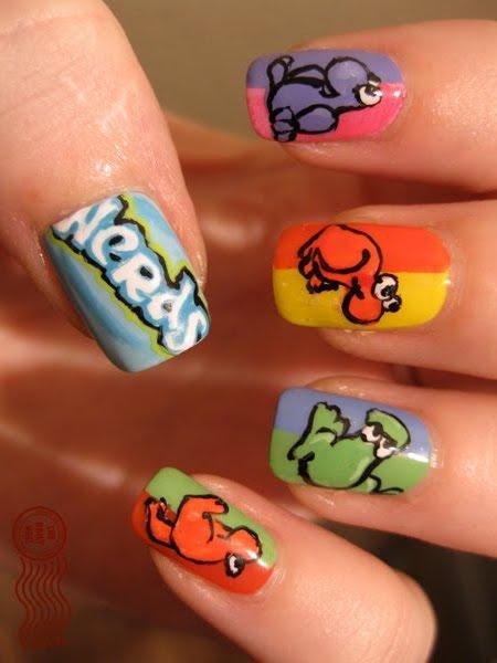 cute dinosaurs nail design