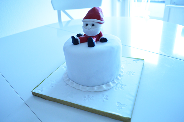 Christmas themed cake with Santa Claus