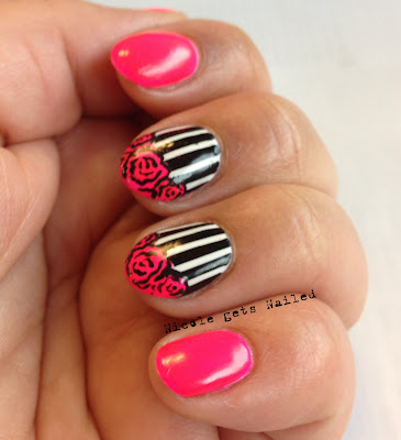 Neon Pink with Black and White Stripes and Vintage Roses