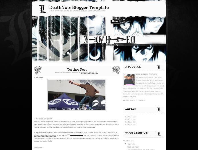 DeathNote Blogger Template