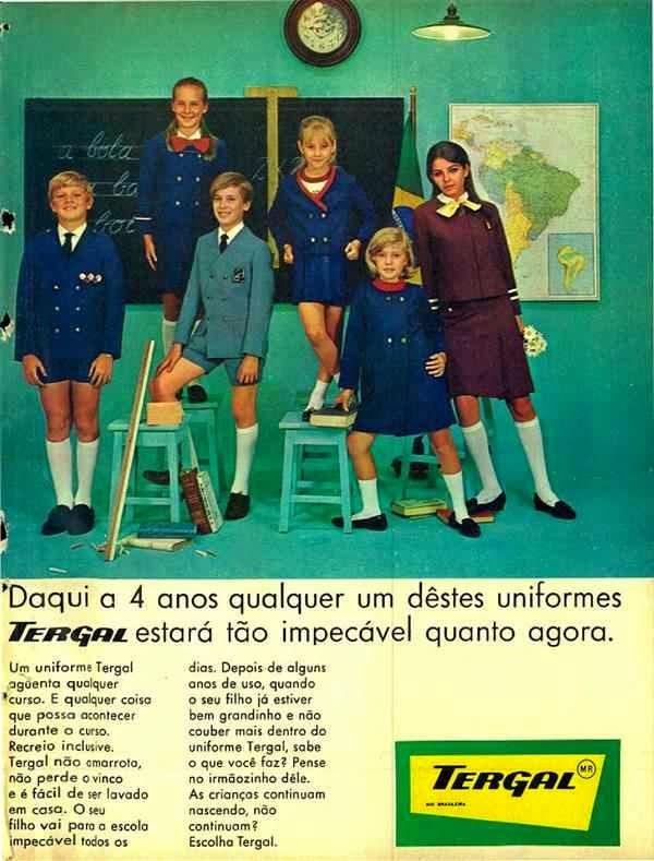 Propaganda da Tergal com sua linha de uniformes escolares no final dos anos 60.