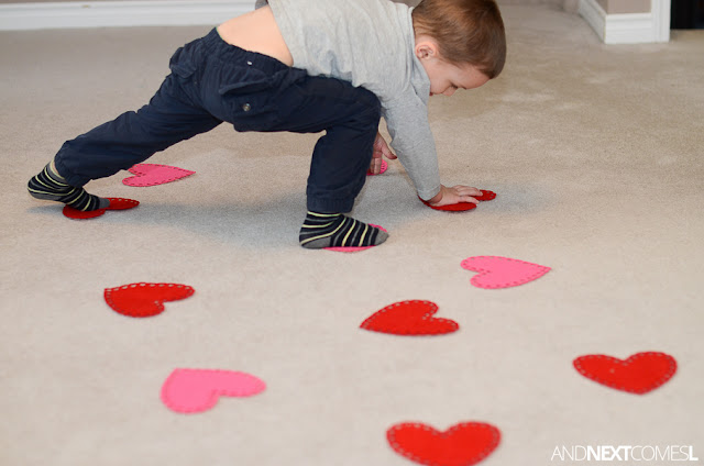 Gross motor boredom busters for Valentine's Day from And Next Comes L
