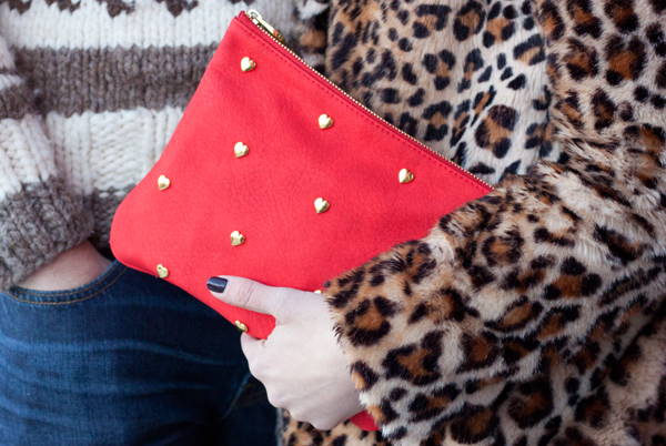 Cute red clutch with golden heart studs for Valentine's Day from Chapters Indigo