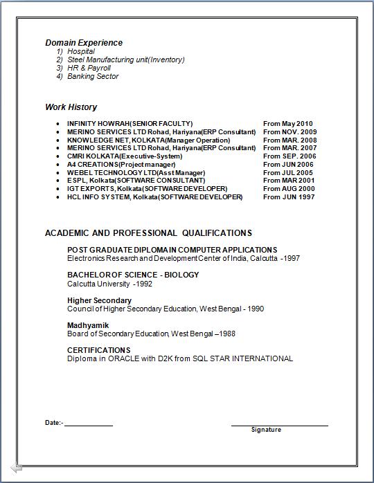 professional resume resume for post graduate diploma in