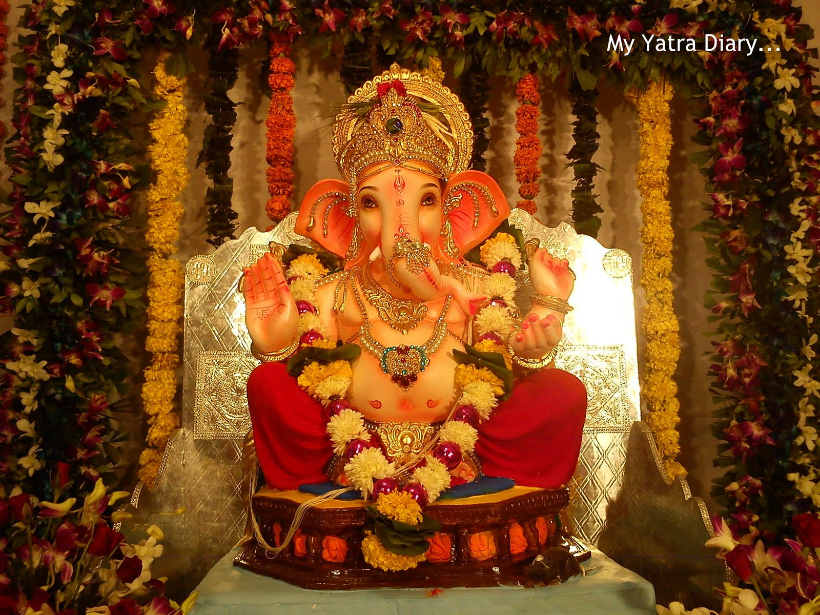 Ganesh chaturthi flowers may flower blog - Ganpati Pandal With Flowers And Garlands Decoration
