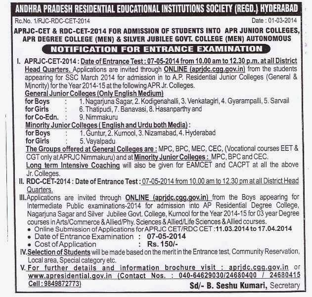 APRDC and APRJC 2014 Notification