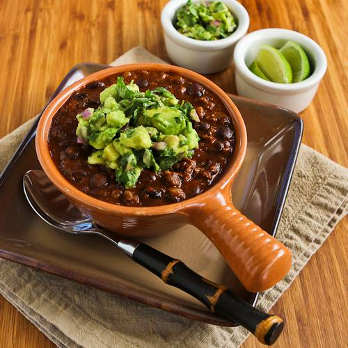 Black Bean and Beef Chili Recipe with Cilantro, Lime, and Avocado Salsa