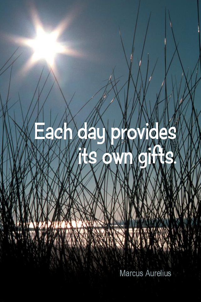 visual quote - image quotation for GRATITUDE - Each day provides its own gifts. - Marcus Aurelius