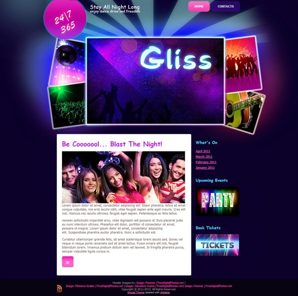 Gliss Nightclub - Free Drupal Theme