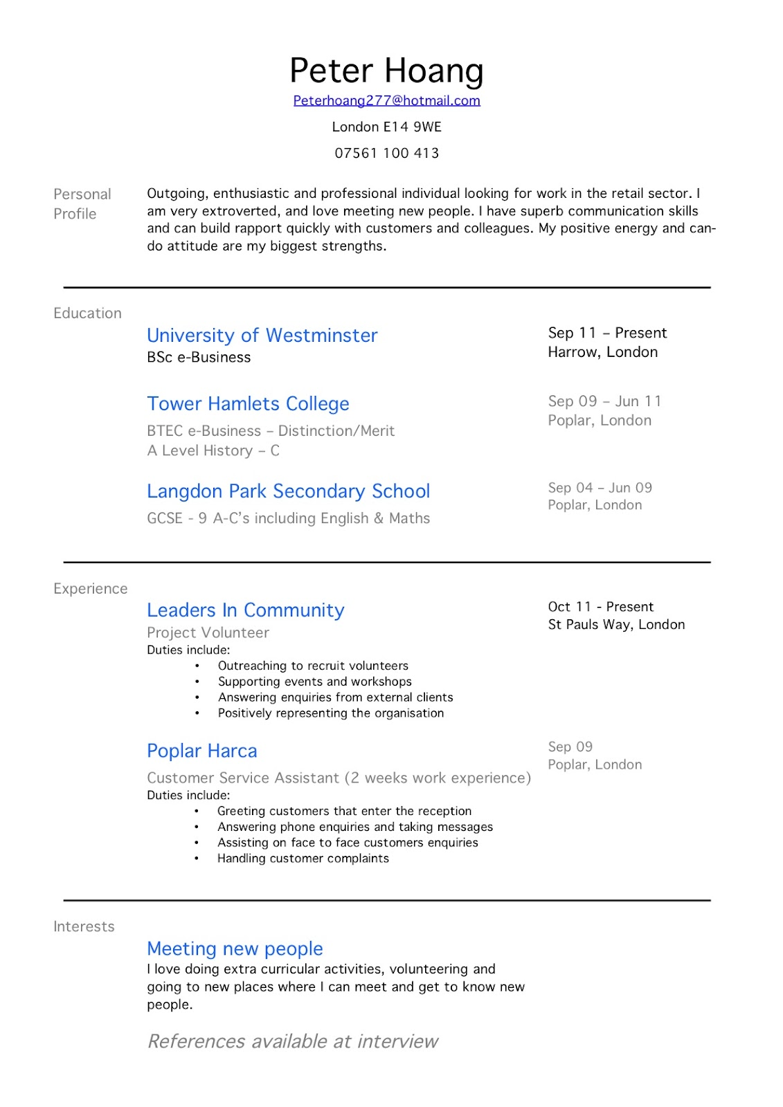 Resume example no work experience