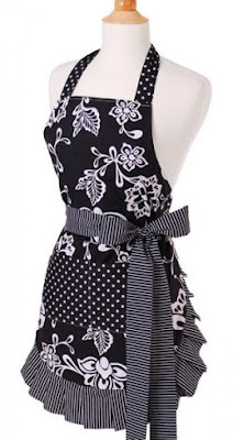 What's black and white and sassy all over? And on sale? This original sassy black apron from Flirty Aprons!