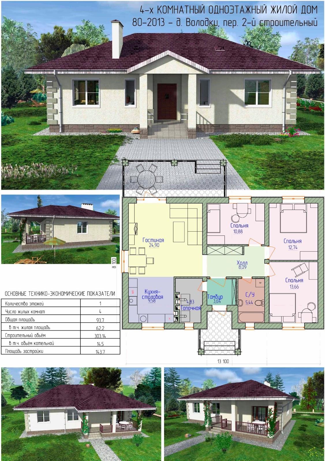 Готовый проект жилого дома с террасой