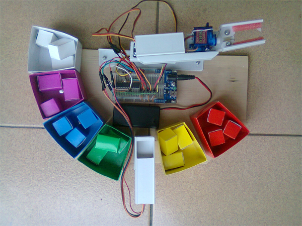 Karyaku proyek arduino robot sederhana penyortir warna