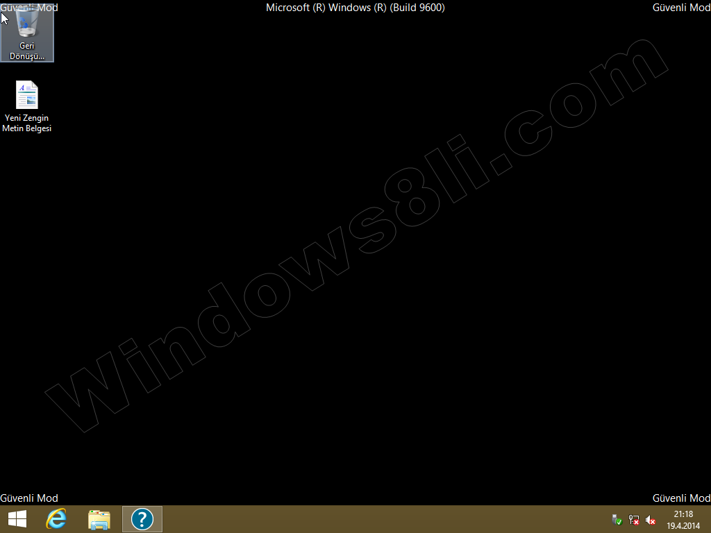 Windows 8 Güvenli Mod