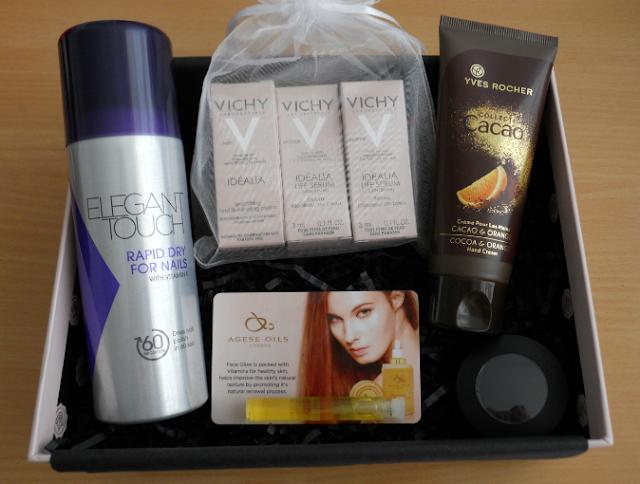 Glossybox November 2013, Glossybox november spoiler, Elegant touch, Vichy idealia, Yves rocher, Agese oils, Emite make up