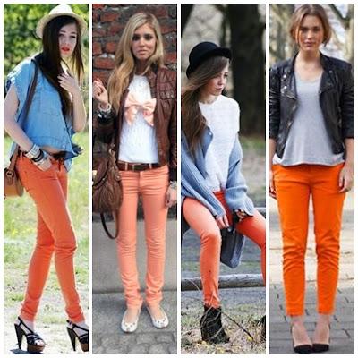 calça colorida, calça laranja