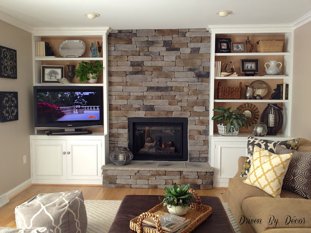 Stone Fireplace with Built in Bookshelves 640 x 480