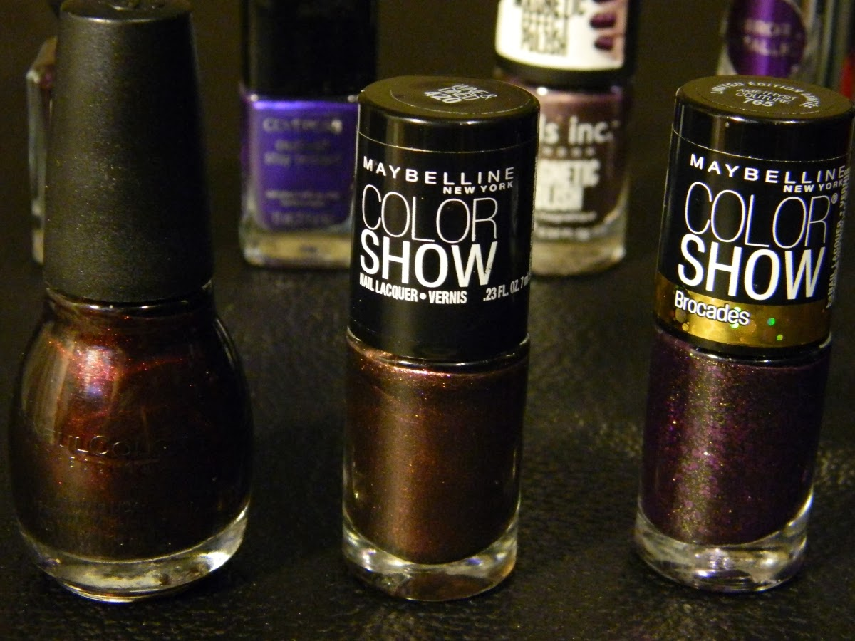 Sinful Colors 265 Rich In Heart, Maybelline Color Show 420 Wine & Dined, Maybelline Color Show 765 Amethyst Couture