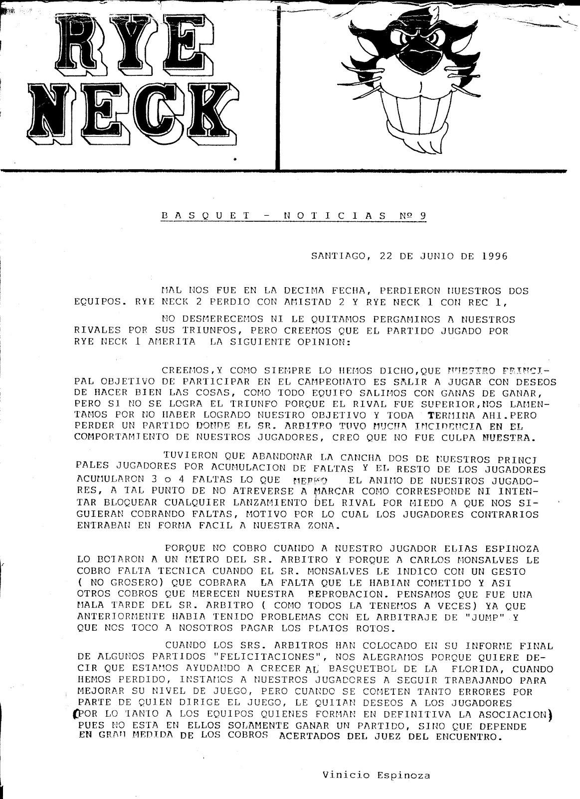 Nuestro Basquetnoticias año 1996