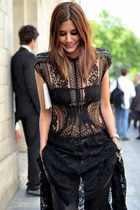 Christine Cenetenera Vogue Australia black lace street style