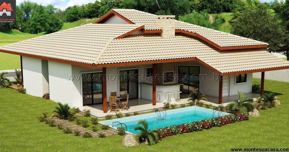 Projeto de casa com 5 quartos e churrasqueira for Casas de campo modernas con piscina