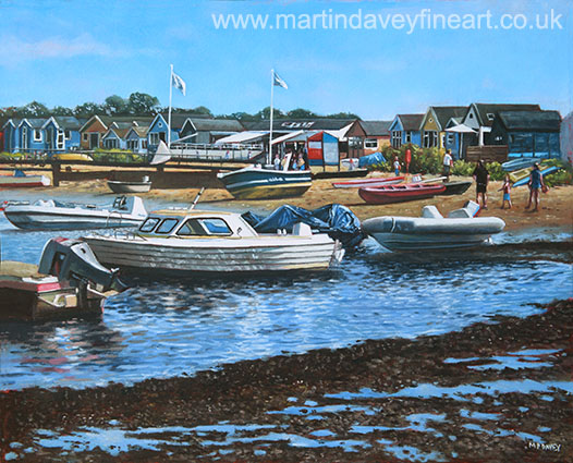 christchurch hengistbury head beach with boats oil painting