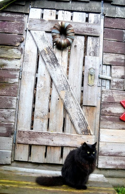 reclaimed wood door on rustic shed / part of summer garden reveal on FunkyJunkInteriors.net
