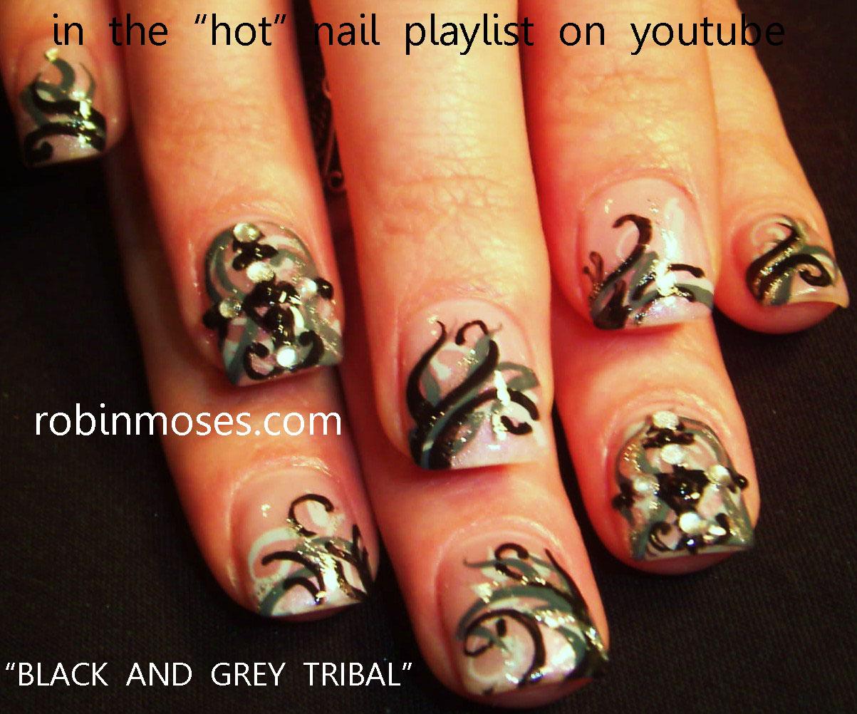 tribal nails, black and gray nails, rasta nails, reggae nails, easy ...