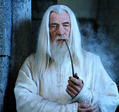 Gandalf smoking a pipe