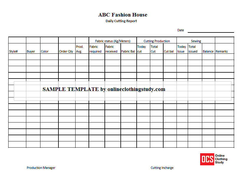 Daily Cutting Report  Daily Report Format
