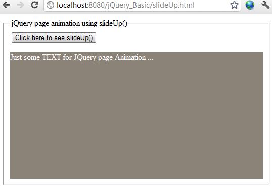 jQuery slideUp effect example