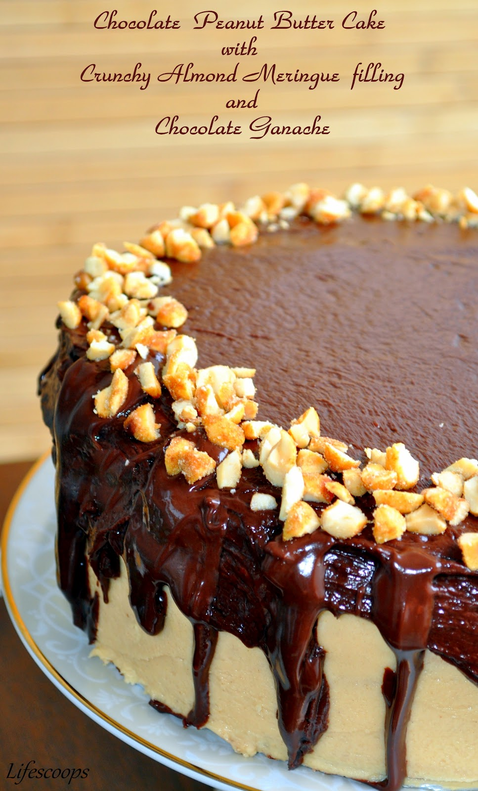 Here Is A Chocolate Peanut Butter Cake With Almond Meringue Filling And Ganache Now Who Doesnt Want To Take An Intense Bite Into That