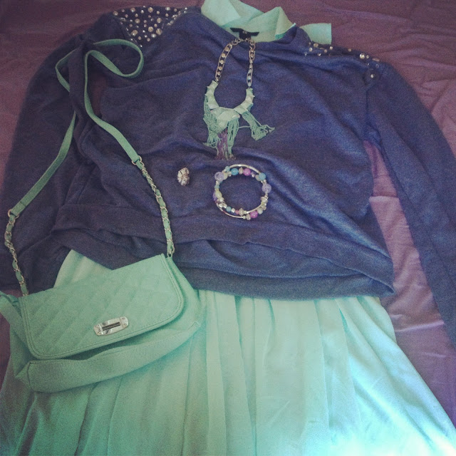 Primark studded jumper outfit with mint h&m dress