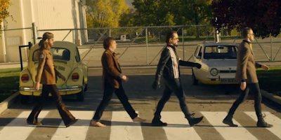 imagine dragons the beatles crossing the street on top of the world music video