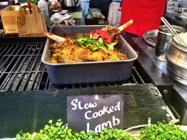 Slow cooked lamb - Real Food Market, South bank, London