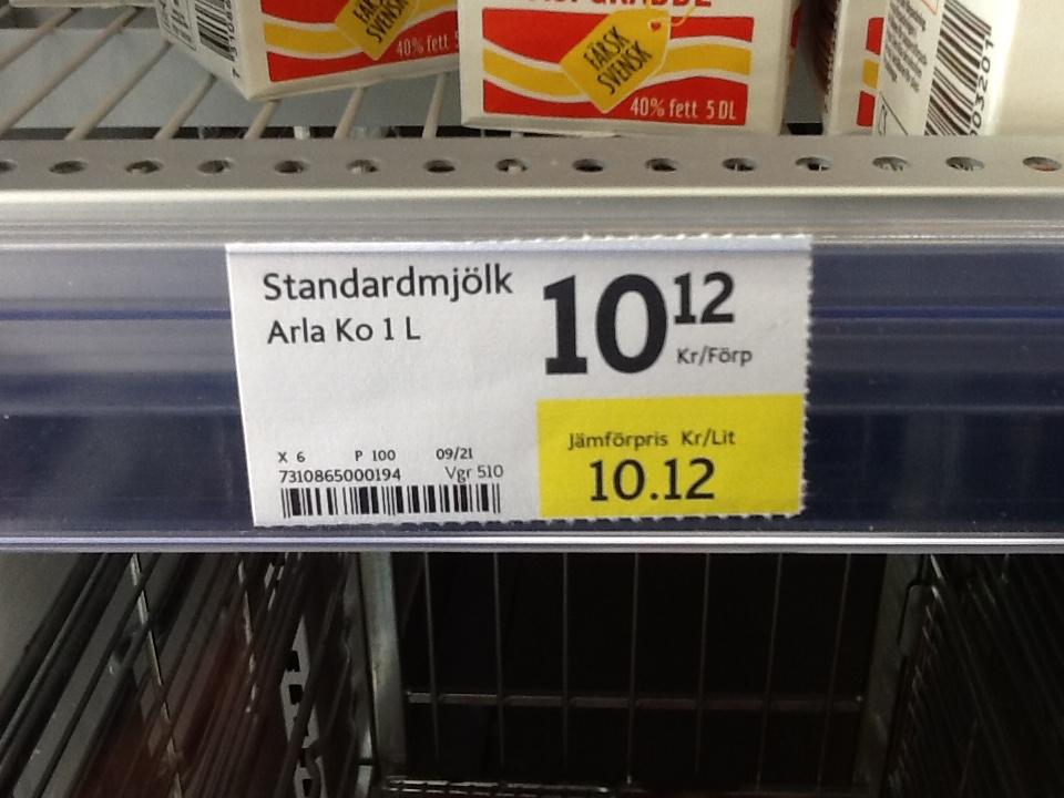 hur mycket kostar en liter mjölk