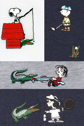 Peanuts x Lacoste 2015 Polo Collection Logos - Snoopy, Charlie Brown, Linus & Lucy