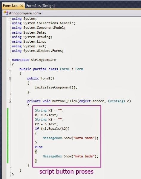Kode Membandingkan Dua Buah String