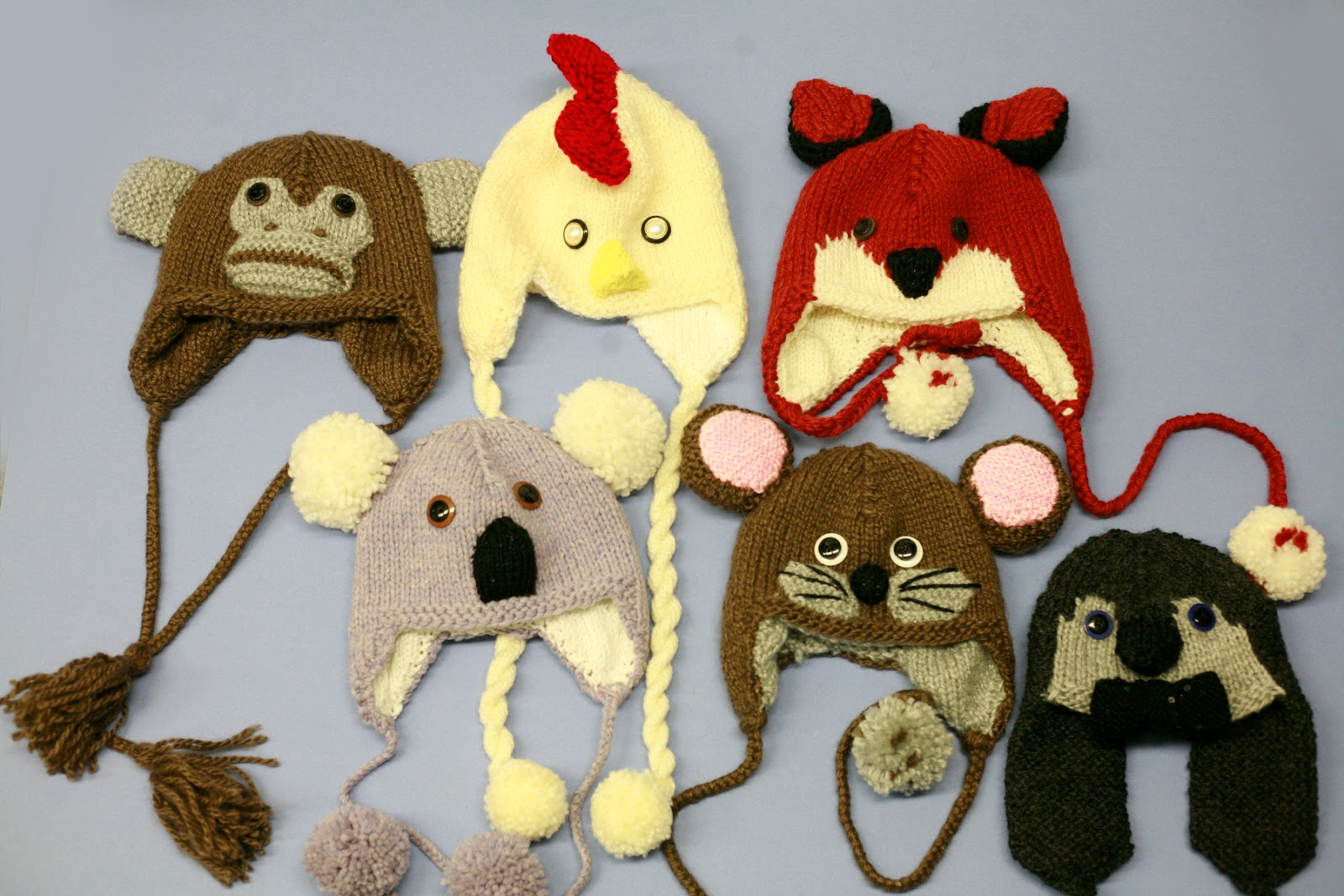 Knitting Patterns Hats Animals : Ben Franklin Crafts and Frame Shop: DIY Knitted Animal Hats