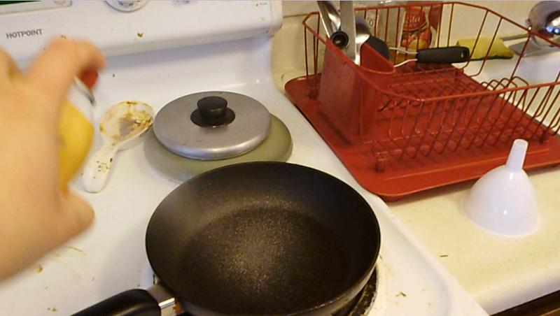 Spray the pan
