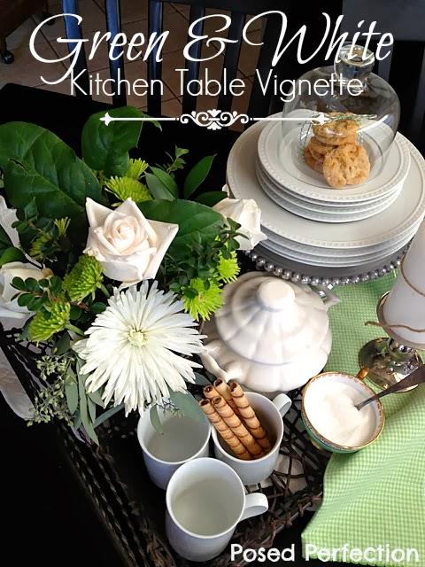 Green & White Kitchen Table Vignette-Top 10 Crafts/DIY/Tips of 2014