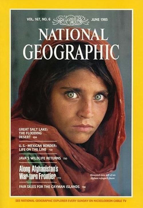 Sharbat Gula nella copertina del National Geographic, 1985