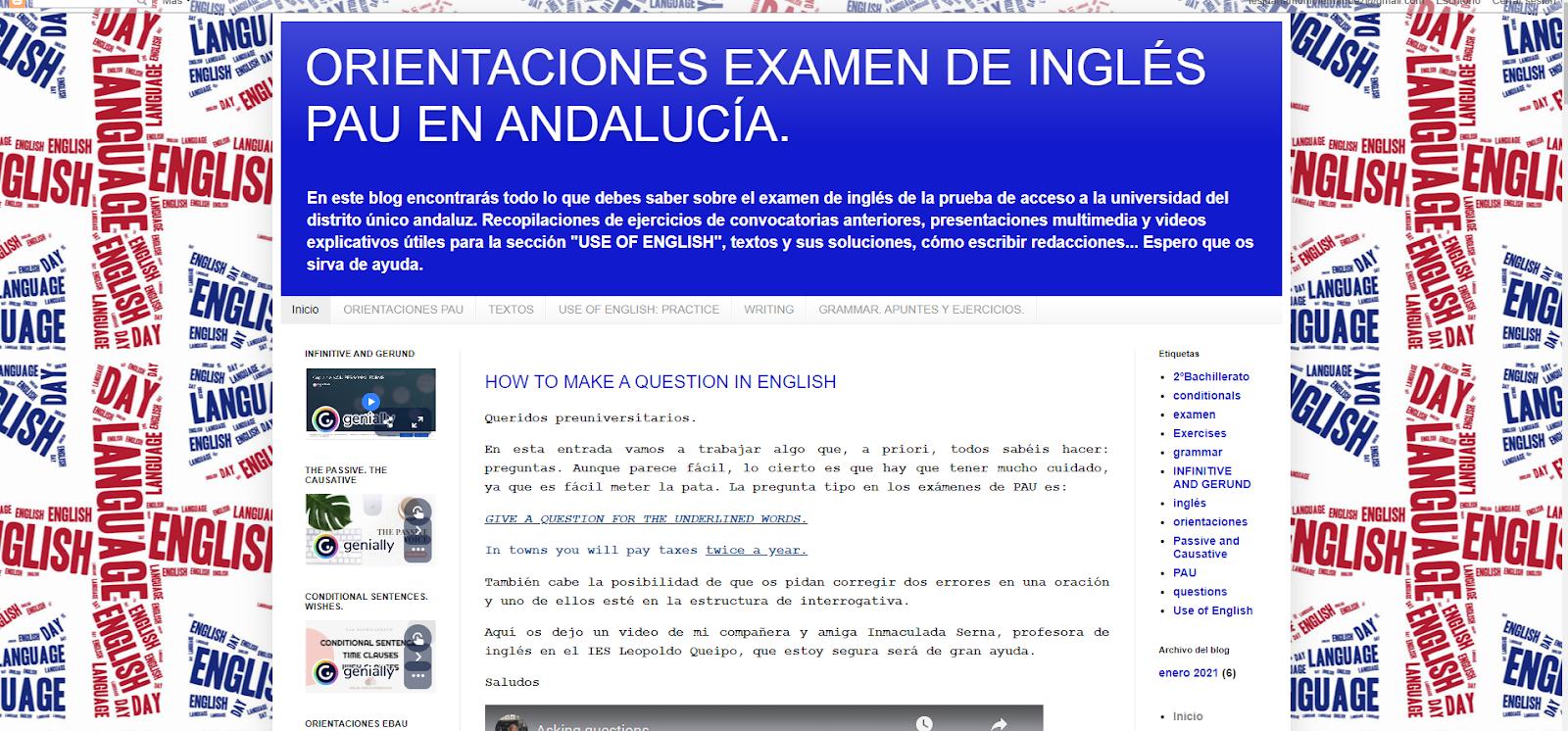 Orientaciones examen de Inglés. PEvAU