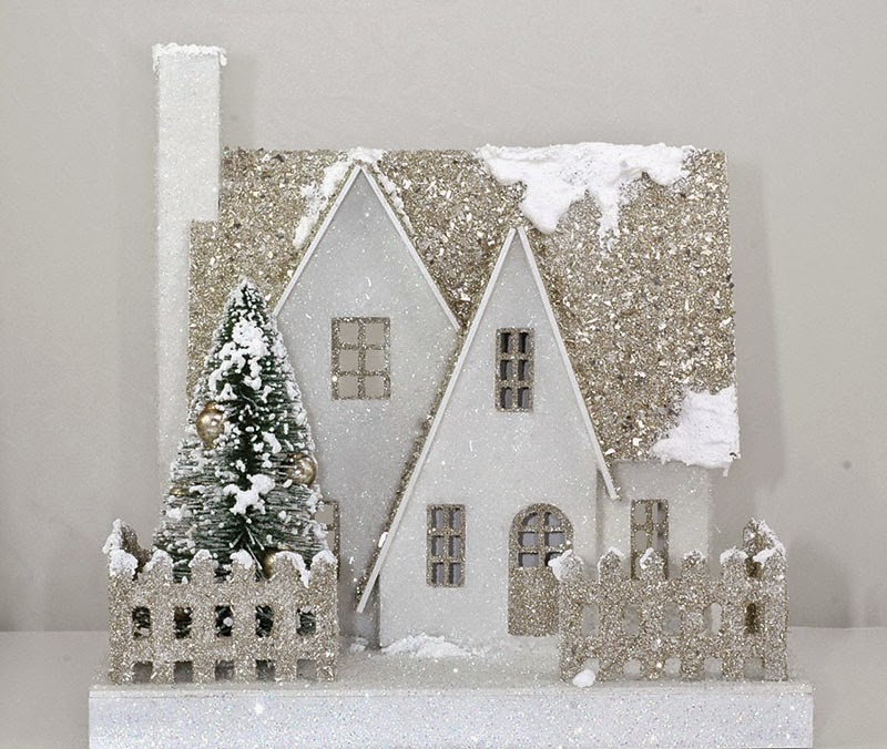 """White Christmas"""" Putz house (Glitter House) kit. It is reminiscent of ..."""
